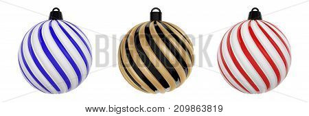 Christmas Ball in Black, gold, red and blue colors. Twisted Twisted christmas tree ball on white background