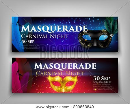 Masquerade invitation party horizontal banners set with sparkling golden and black masks isolated on grey background realistic vector illustration