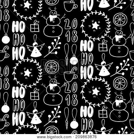 Vector seamless pattern. Simple black and white doodle. Snowman, garland, citrus, angel, present, twig Xmas, New Year wrapping paper, greeting card party decoration flyer banner invitation