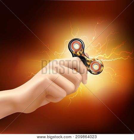 Fidget finger spinner device in hand with fiery lighting effects and soft glowing background realistic vector illustration