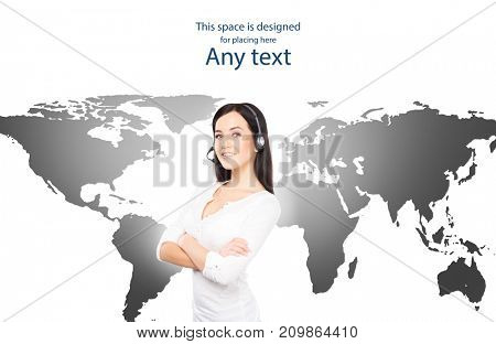 Customer support operator working in a call center office. Global business concept. World map background.