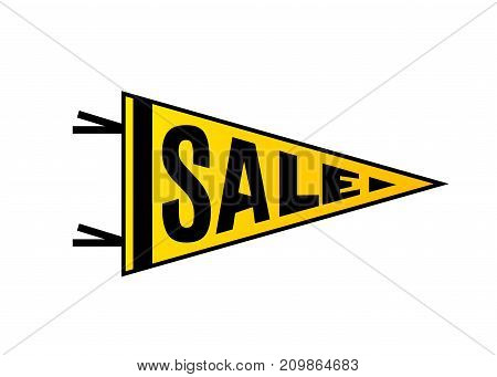 Sale banner design. Bright yellow color pennant flag with black typography. Geometric motion concept. Vector illustration