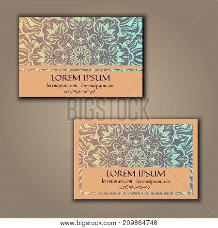 Ornamental floral business cards. Vintage decorative elements.