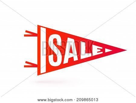 Sale tag design. Bright red color pennant flag typography motion concept. Vector illustration