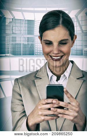 Close up of smiling businesswoman using mobile phone against modern room overlooking city