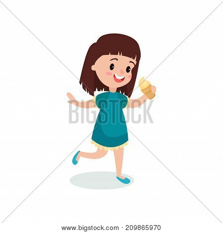 Pretty brunette girl feeling happy with her ice cream cartoon vector illustration isolated on a white background