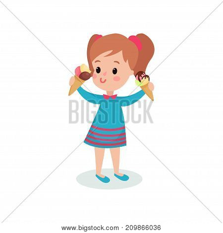 Pretty girl holding two ice creams cartoon vector illustration isolated on a white background