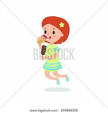 Happy redhead girl licking ice cream cartoon vector illustration isolated on a white background