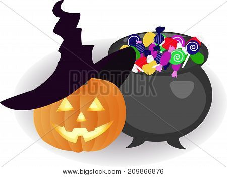 a pumpkin in a hat and a bowler hat with sweets. Illustration for halloween