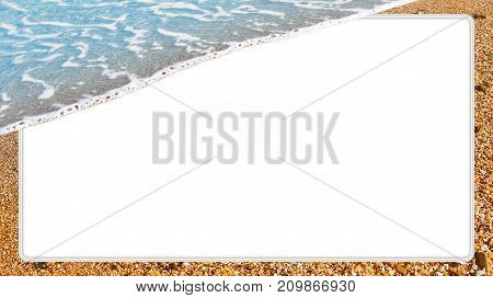 Travel concept, mock up template with sea wave, beach sand and big white text box. Summer background, touristic poster with natural border, album page for scrapbooking