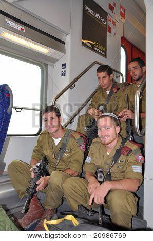 BEER-SHEVA,Negev,ISRAEL: 2010. Israeli soldiers in a train.