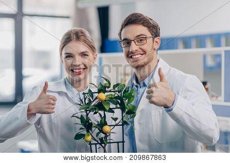 Biologists With Lemon Plant