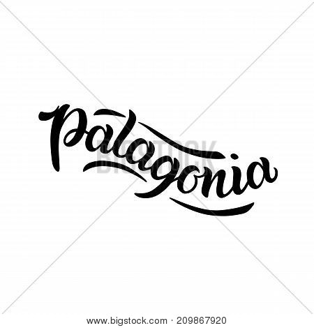 City logo isolated on white. Black label or logotype. Vintage badge calligraphy in grunge style. Great for t-shirts or poster, Patagonia, South America, Argentina, Chile