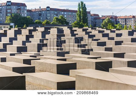 BERLIN, GERMANY - JUNE 15, 2017: The Memorial of the Murdered Jews in Europe also known as the Holocaust Memorial in Berlin.
