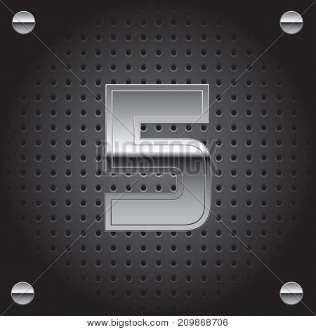 Vector set of silver metalic font on metalic perforated background - number five - 5