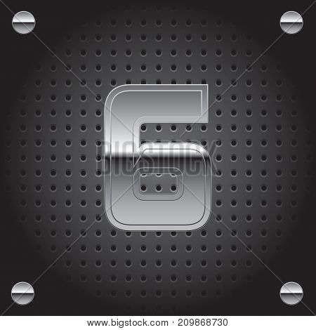 Vector set of silver metalic font on metalic perforated background - number six - 6