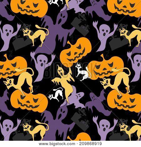 Hallowen pattern white cats, violet ghost and orange pumpkin on black background