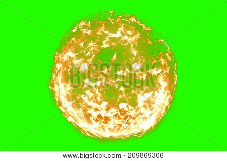 3D Rendering, Ball Of Flame Fire In Chroma Key Green Screen Background, Dangerous Flame