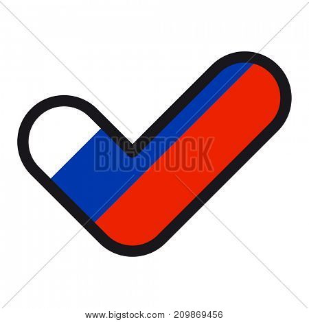 Flag of Russia in the shape of check mark, sign approval, symbol of elections, voting.