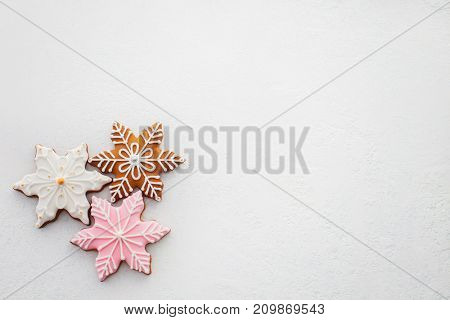 lovely pink gingerbreads on white background - Christmas time