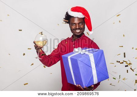 Around Happiness Afro Man In Red Cap, Flies Gold Metaphane, Man Holding Champagne Glass And Gift Box
