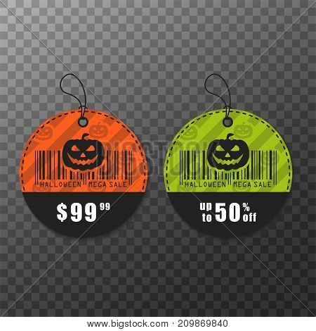 Set of vector Halloween banners. Halloween sale, discount and offer tags, stickers