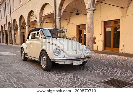 MELDOLA, FC, ITALY - OCTOBER 10: driver on a vintage German car Volkswagen Type 1 (Beetle) in rally