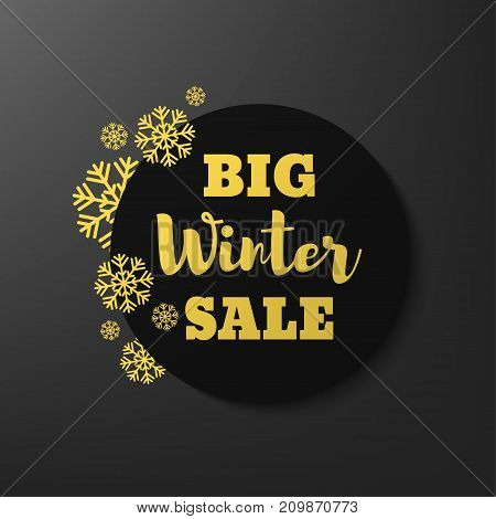 Winter sale banner template with snowflakes. Vector illustration