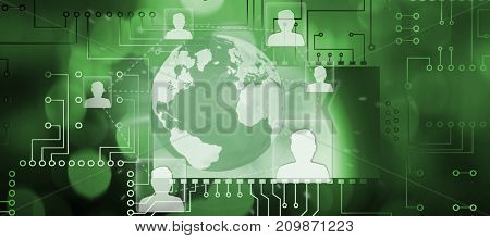 Circuit board against white background against glowing background