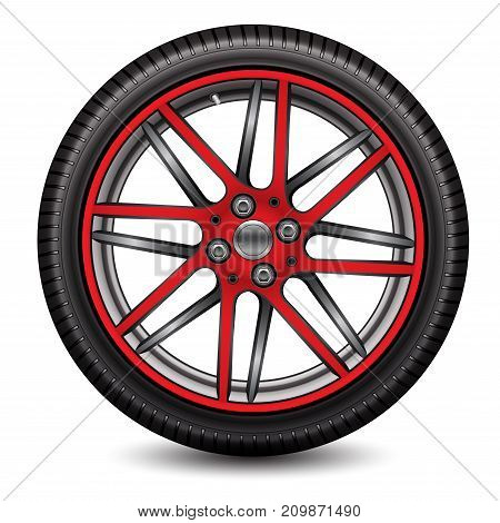 Radial wheel car gray red alloy with tire on white background vector illustration.