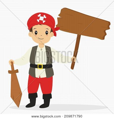 Halloween cartoon vector. a boy wearing pirate costume for Halloween party holding an empty wooden sign and a wooden sword.