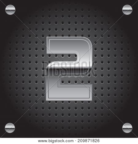 Vector set of silver metalic font on metalic perforated background - number two - 2