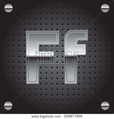 Vector set of silver metalic font on metalic perforated background - letter F