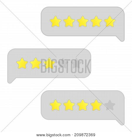 Chat bubbles. Stars rating. Customer review. Online survey. Feedback Vector illustration