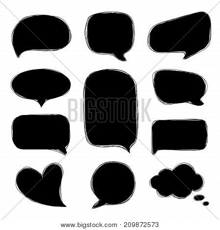Doodle speech bubbles. Tangle hand drawn speech bubbles in comic style. Vector set of dialog windows.