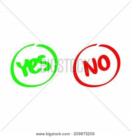 Yes and No. Test. Choice. Voting button. Green and red check marks. Vector signs