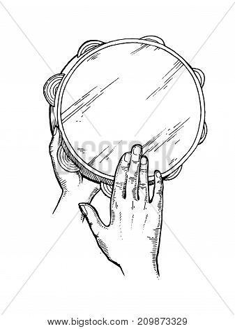 Hands with tambourine engraving vector illustration. Scratch board style imitation. Hand drawn image.
