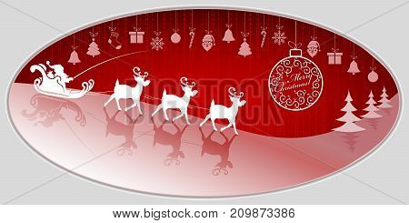 Red Christmas background with Santa Claus rides a sleigh on a reindeer and a Christmas ball in retro style with text