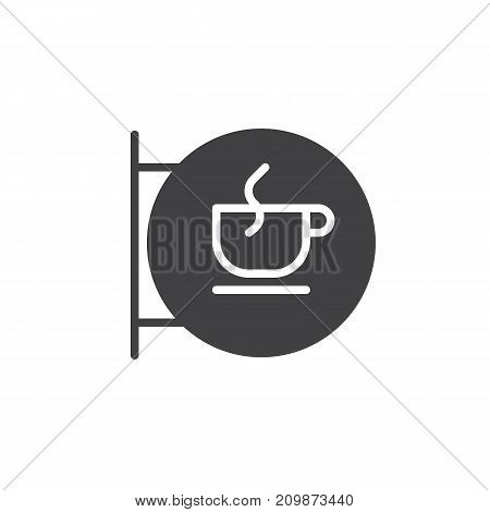 Coffee house sign icon vector, filled flat sign, solid pictogram isolated on white. Coffee cup in a circle symbol, logo illustration.