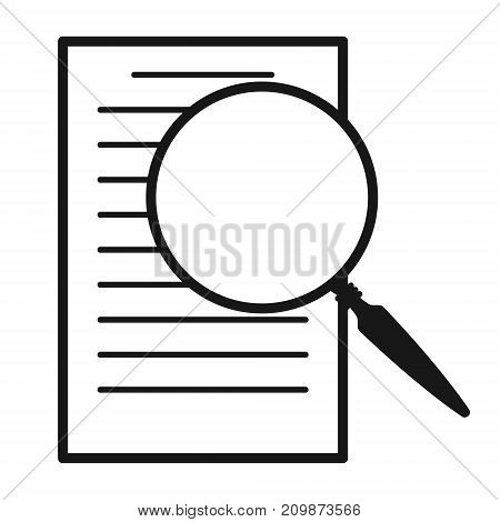 magnifying glass over document vector icon. Flat design