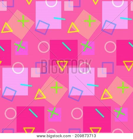 Seamless pattern in pink colors in memphis style with geometric shapes. Bright fashion contrast texture for girl textile, wrapping paper, cover, background, surface, packaging