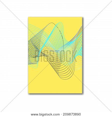 Abstract yellow background template with gradient wavy element. Fashion background for web, paper design, poster, flyer, banner, cover