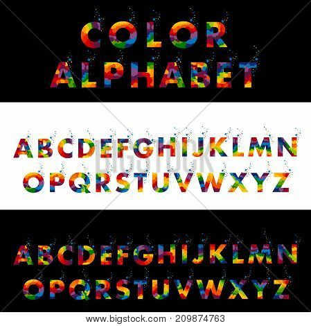 Vector of colored alphabet. Colored letters on a Black and a white background.