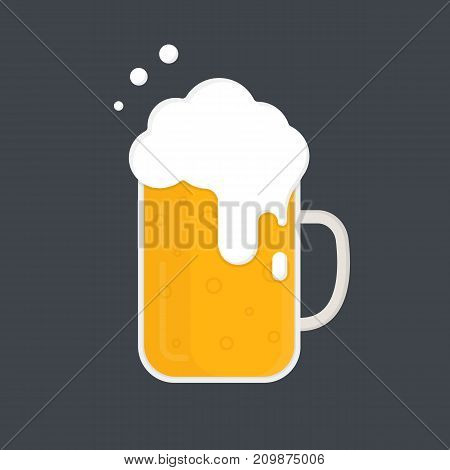Mug of beer. Beer mug with a lot of foam. Vector icon isolated on dark background. Flat design.