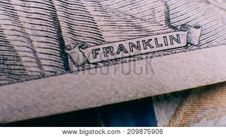 Portrait Of Franklin On The Bill Close-up.
