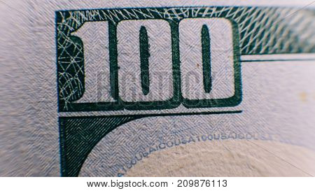 .macro Photo Details On A Bill Of One Hundred Dollars Close-up