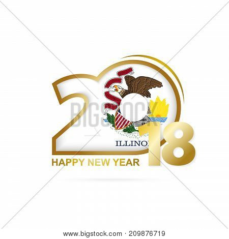 Year 2018 With Illinois Flag Pattern. Happy New Year Design.