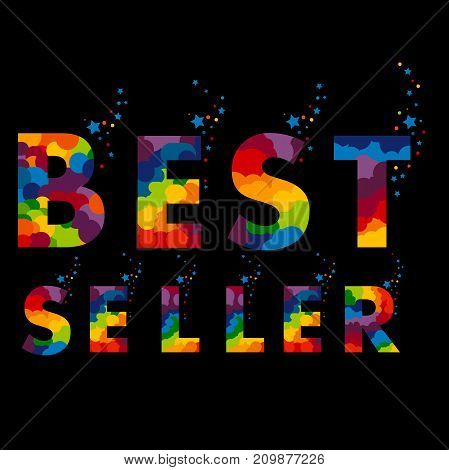 bestseller. stamp. sticker. Best seller Color sign with splashes of confetti and stars