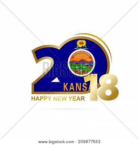 Year 2018 With Kansas Flag Pattern. Happy New Year Design.