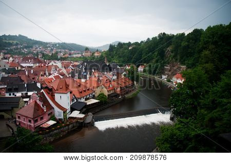 Aerial view over the old Town of Cesky Krumlov, Czech Republic .